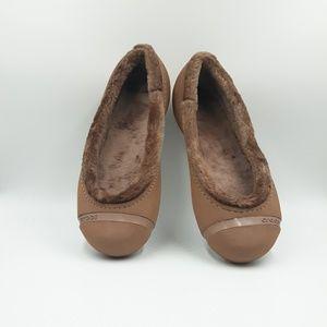 Crocs Tan Ballet  Flats with Faux Fur Linen Shoes